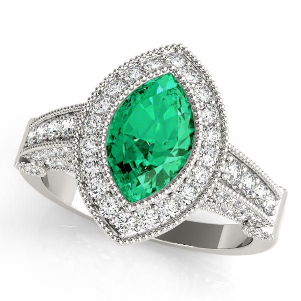 Marquise Green Emerald Vintage Ring