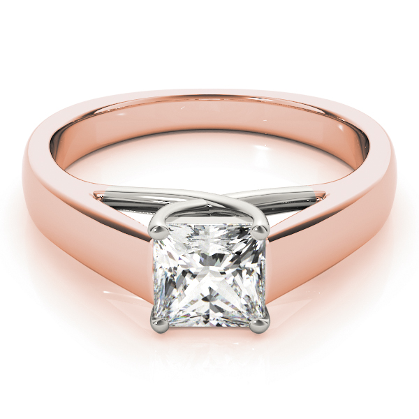 Trellis Solitaire Engagement Ring in Rose & White Gold