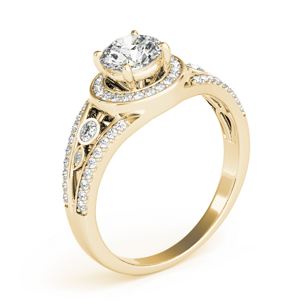 Swing Halo Split Band Engagement Ring Yellow Gold