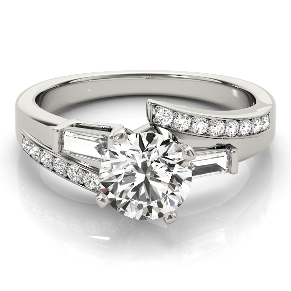 Swirl Diamond Engagement Ring with Baguette Accents