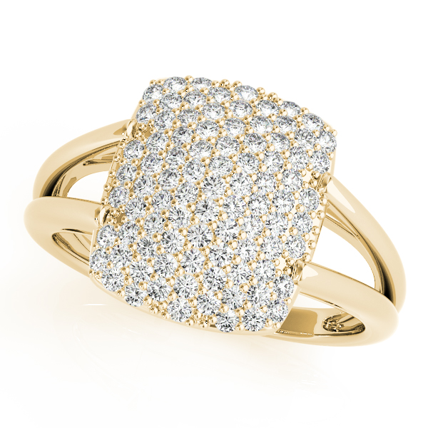 Rectangle Diamond Cluster Yellow Gold