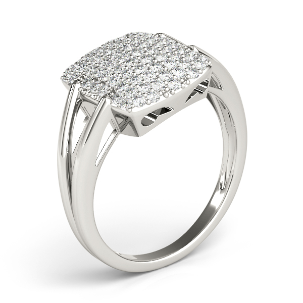 Rectangular Diamond Cluster Ring