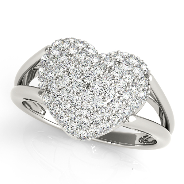 Split Band Heart Diamond Cluster