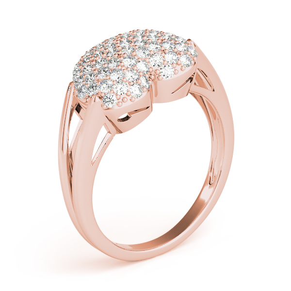 Heart Diamond Cluster Ring Rose Gold