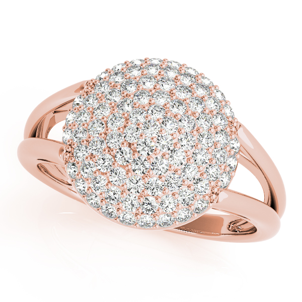 Round Diamond Cluster Ring Rose Gold