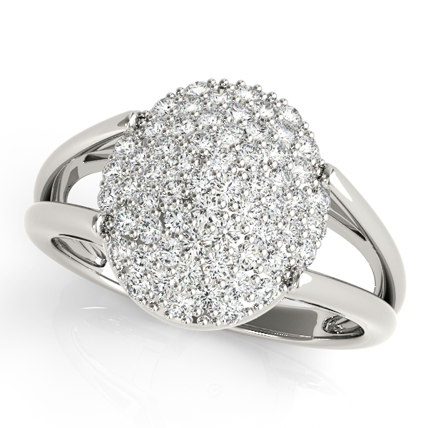 Split Band Oval Diamond Cluster