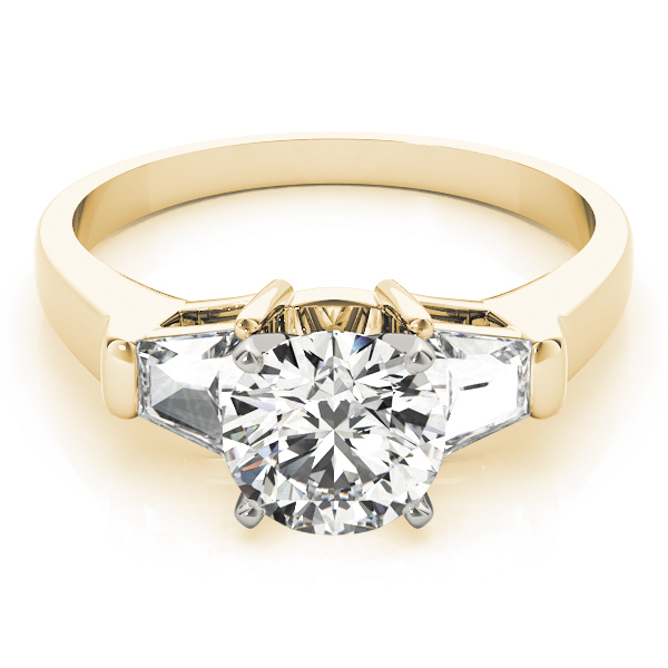 Large Baguette Diamond Engagement Ring Yellow Gold