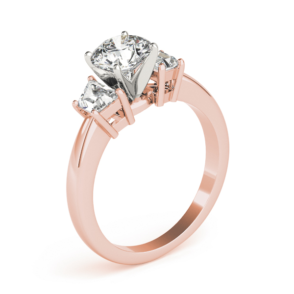 Trapezoid Diamond Engagement Ring Rose Gold