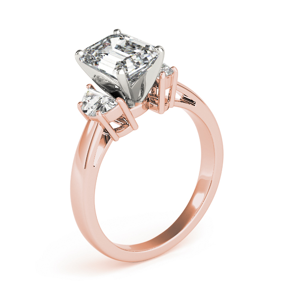 Half Moon Diamond Emerald Engagement Ring Rose Gold