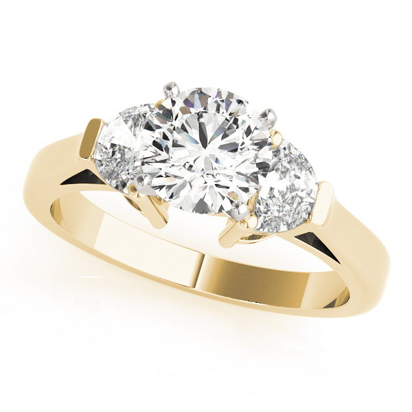 Half Moon Diamond Engagement Ring Yellow Gold