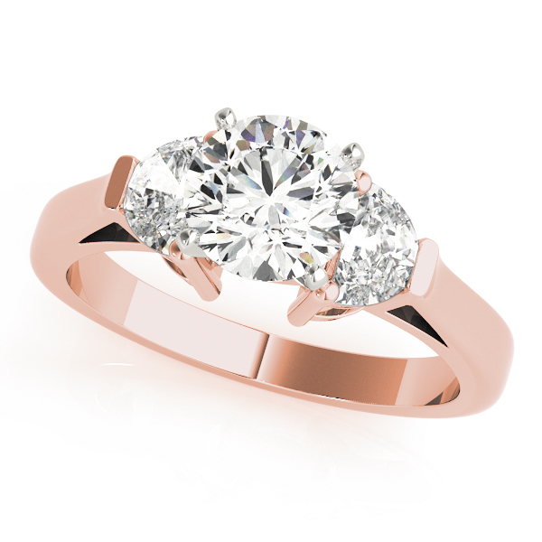Half Moon Diamond Engagement Ring Rose Gold