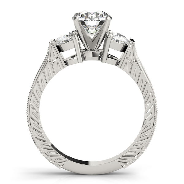 Half Moon Diamond Engraved Engagement Ring
