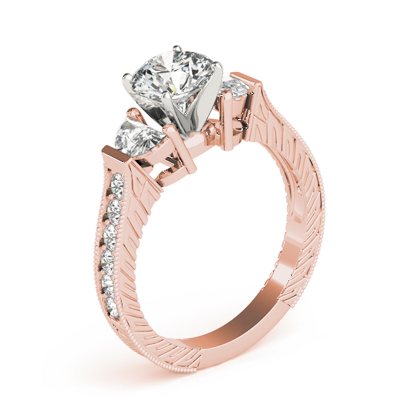 Half Moon Engraved Diamond Ring Rose Gold