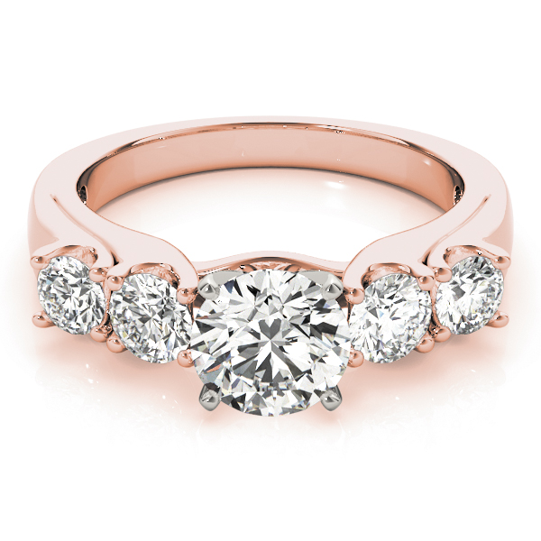 Five Stone Diamond Cathedral Engagement Ring in Rose Gold