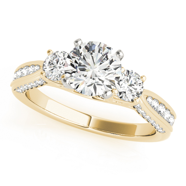 Three Stone Diamond Tapered Band Engagement Ring in Yellow Gold