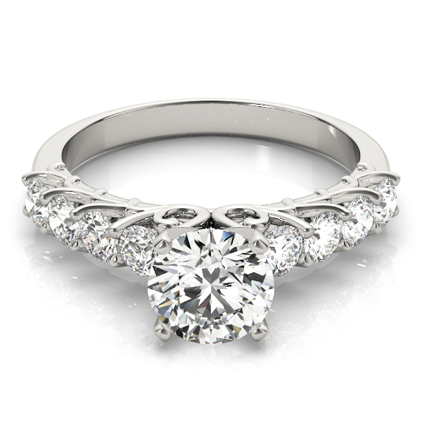 Nine Diamond Engagement Ring Floral Prongs