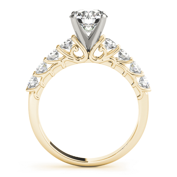 9 Diamond Ring Floral Prongs Yellow Gold