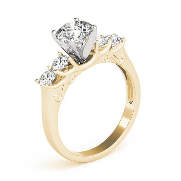 Four Stone Diamond Engagement Anniversary Ring, Engraving, in Yellow Gold