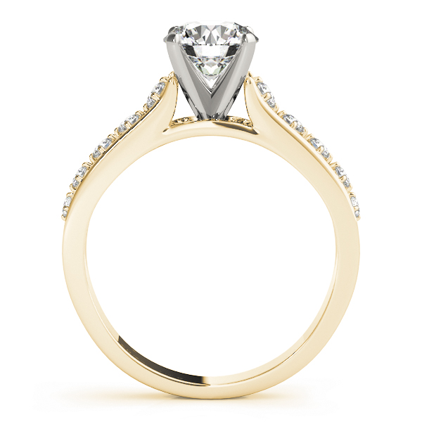 Cathedral Split Band Diamond Engagement Ring in Yellow Gold