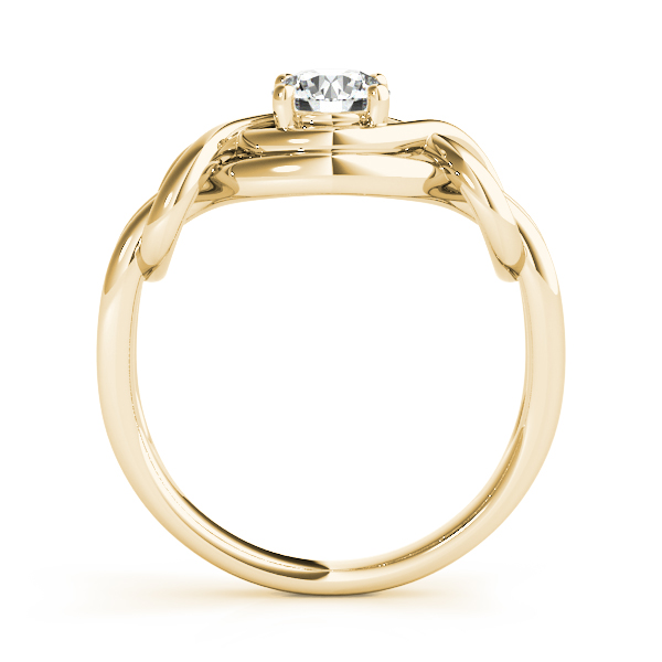 Solitaire Love Knot Intertwined Ring Yellow Gold