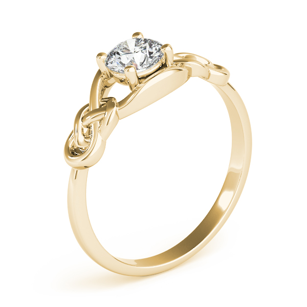 Solitaire Double Love Knot Ring Yellow Gold