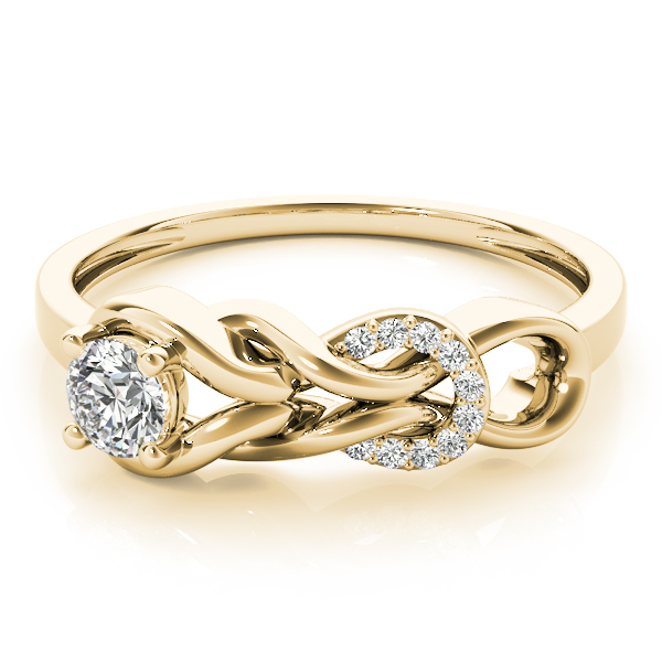 Double Diamond Love Knot Yellow Gold