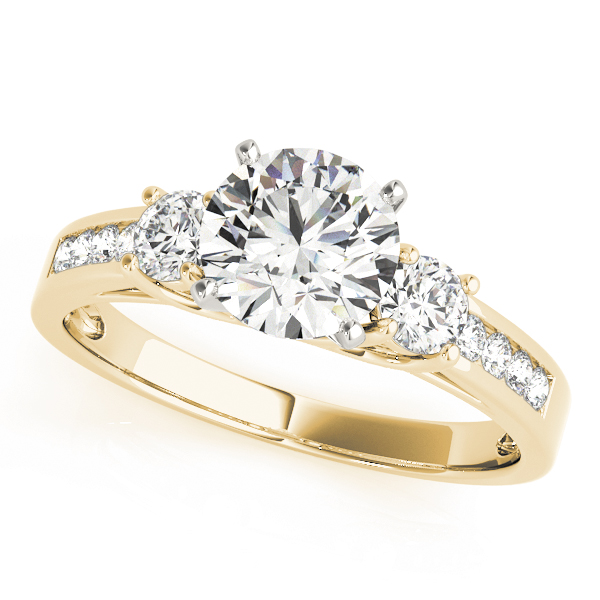 Three Stone Diamond Anniversary Ring Yellow Gold