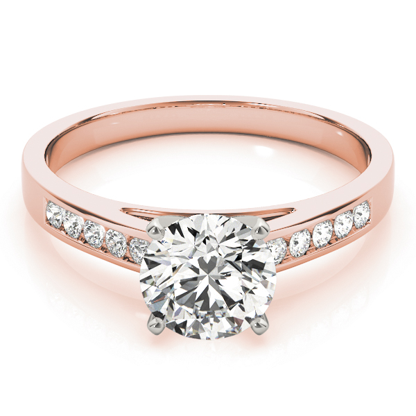Classic Channel Set Diamond Cathedral Engagement Ring in Rose Gold