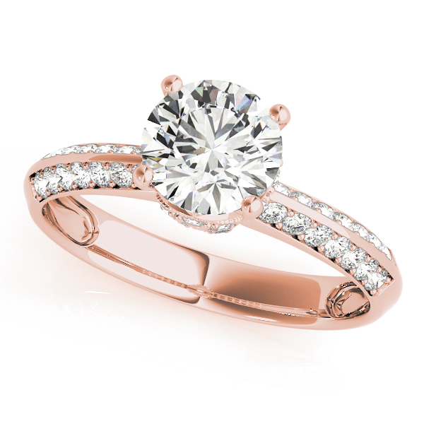 Crown Knife Edge Diamond Engagement Ring in Rose Gold