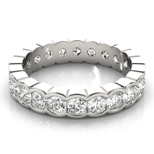 Curved Channel Diamond Eternity Band 3.4 Ct Platinum