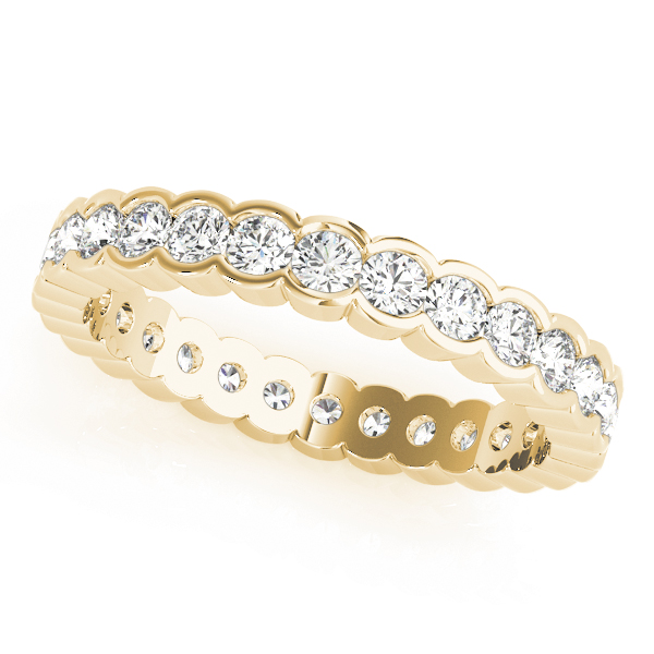 Bezel Diamond Eternity Band 2.4 Ct Yellow Gold