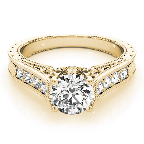 Vintage Floral Diamond Engagement Ring in Yellow Gold