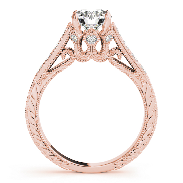 Vintage Floral Diamond Engagement Ring in Rose Gold