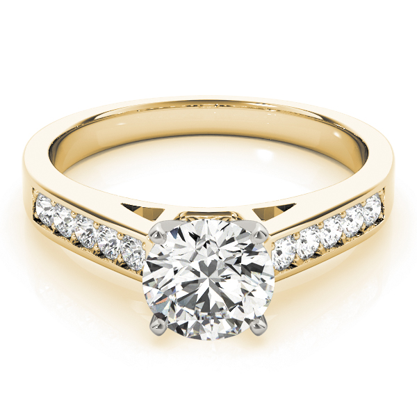 Classic Cathedral Pave Diamond Engagement Ring in Yellow Gold