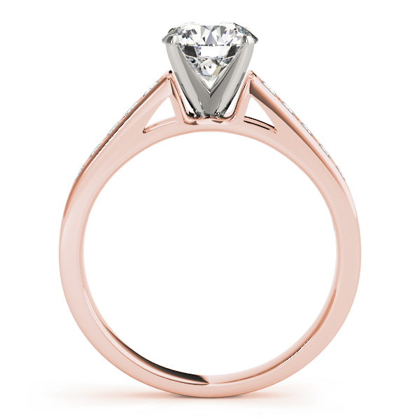 Classic Cathedral Pave Diamond Engagement Ring in Rose Gold