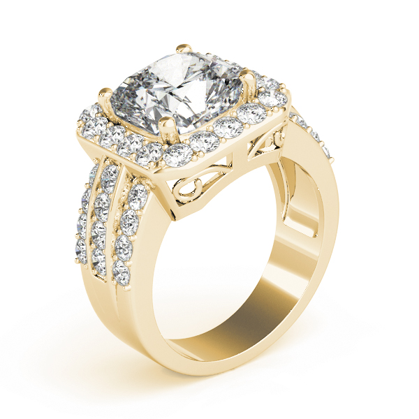 Large Square Halo Diamond Engagement Ring with Multi-Row Band Yellow Gold