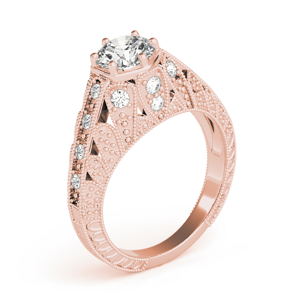 Vintage Hexagon Diamond Engagement Ring, Engraved Band in Rose Gold