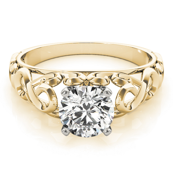 Filigree Solitaire Engagement Ring in Yellow Gold