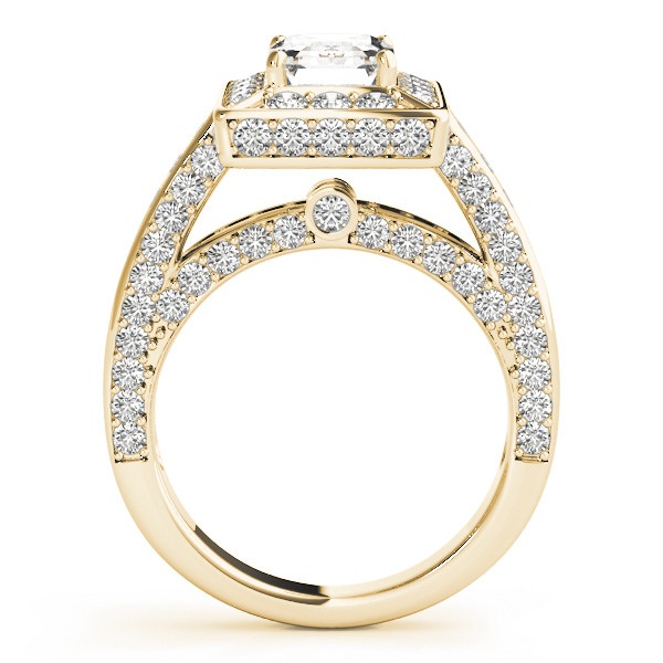 Emearld Cut Diamond Halo Cathedral Legacy Design Engagement Ring Yellow Gold