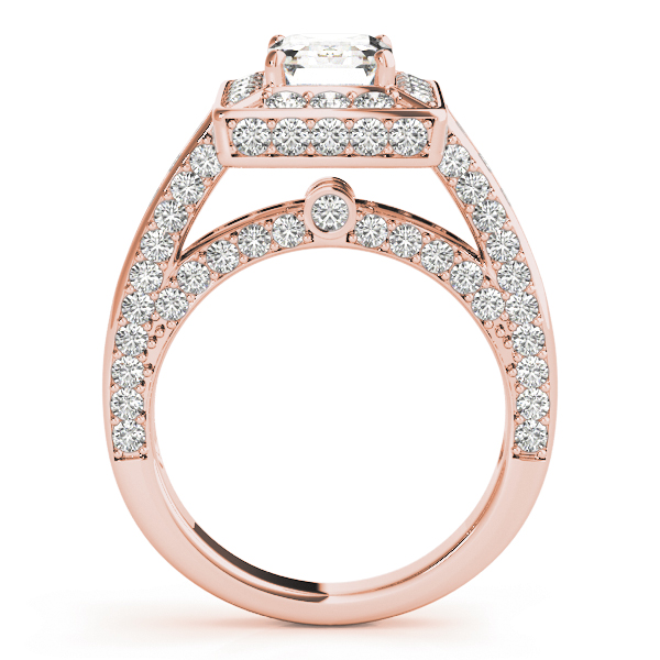 Emerald Cut Diamond Halo Cathedral Legacy Design Engagement Ring in Rose Gold
