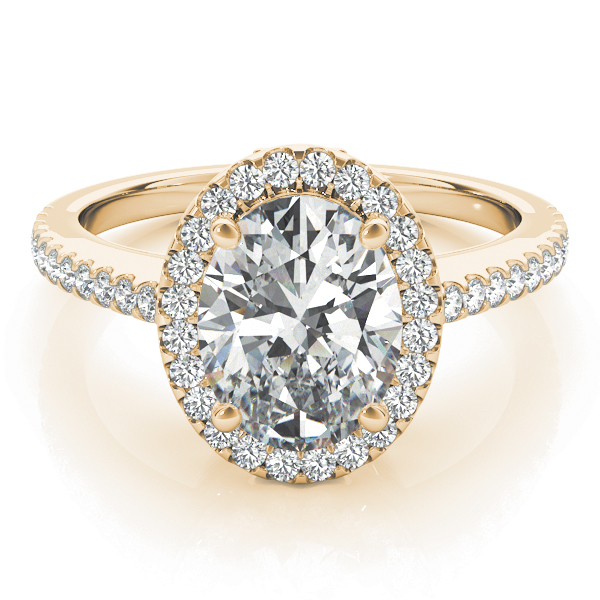 Oval Shaped Halo Diamond Engageement Ring, Filigree in Yellow Gold