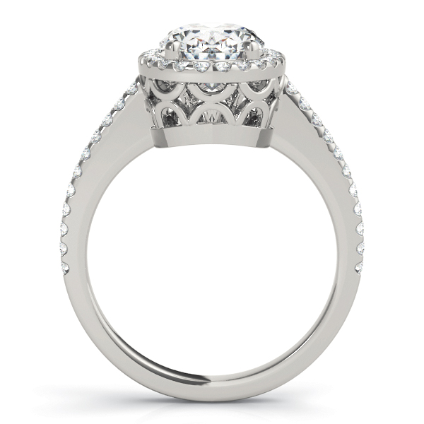 Oval Shaped Halo Diamond Engageement Ring, Filigree