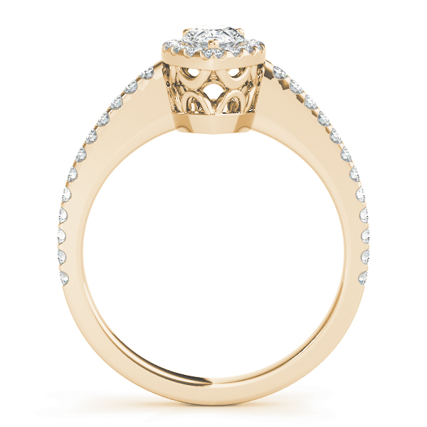 Pear Shaped Halo Diamond Filigree Engageement Ring Yellow Gold