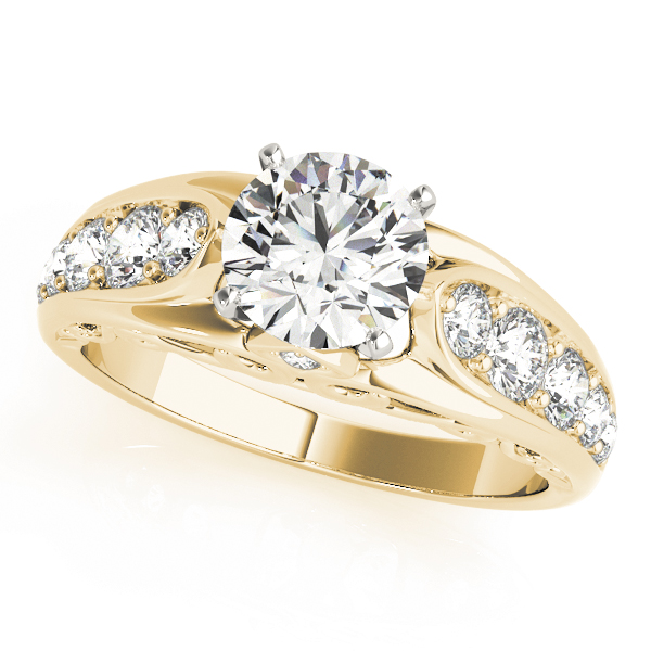 Graduated Diamond Engagement Ring with Filigree in Yellow Gold