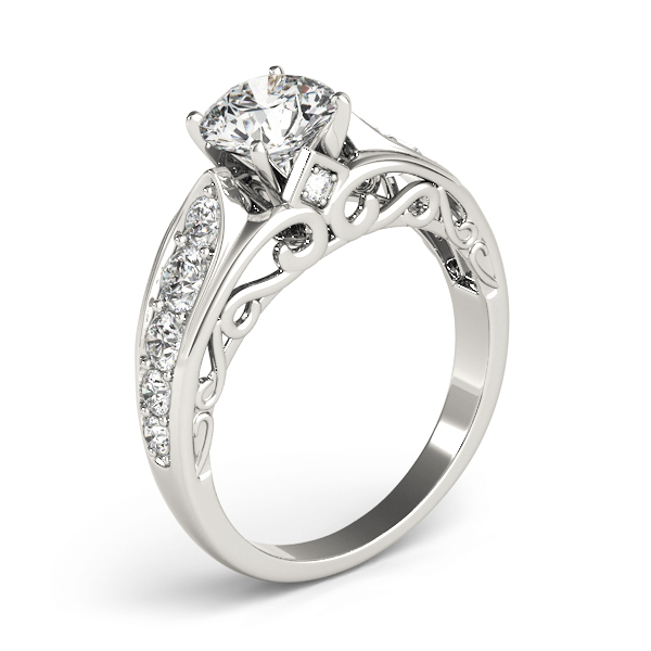 Graduated Diamond Engagement Ring with Filigree