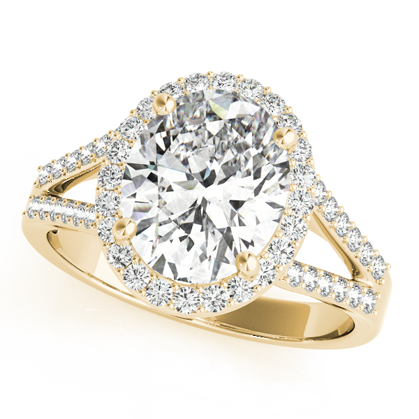 Oval Halo Split Band Diamond Ring Yellow Gold