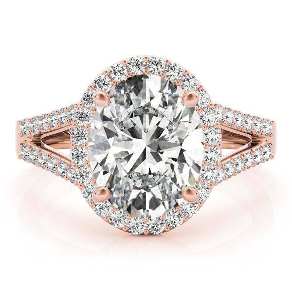 Oval Halo Split Band Diamond Ring Rose Gold