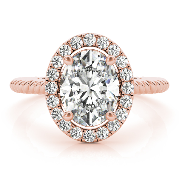 Rope Oval Diamond Halo Engagement Ring Rose Gold