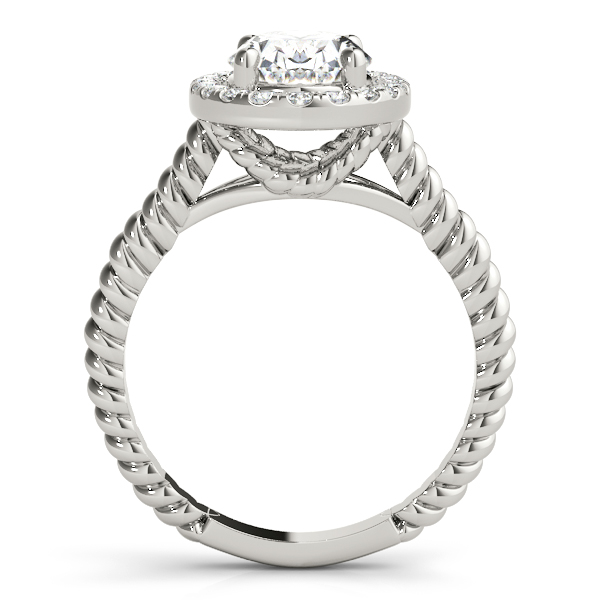 Rope Oval Diamond Halo Engagement Ring