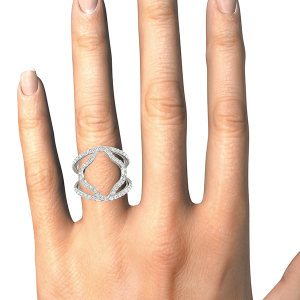 Abstract Double Open Band Abstract Diamond Ring